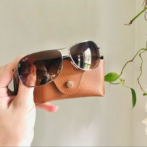 Rayban 3267 Aviators with Case Silver Frame Brown Lenses Scratched Sunglasses